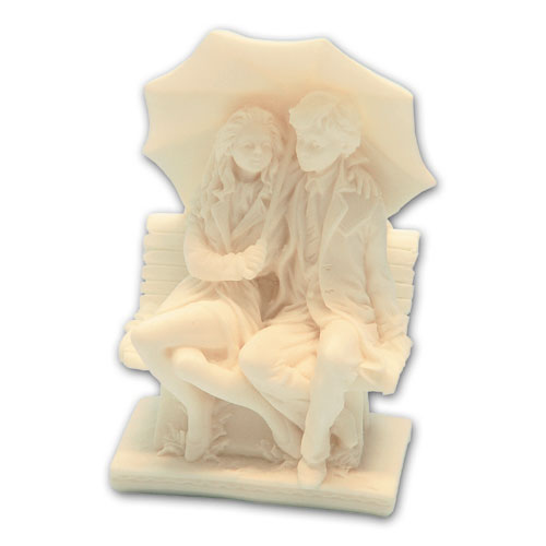 Item # 11188 - Bruidspaar Marmer Onder Paraplu - Maat 13 cm
