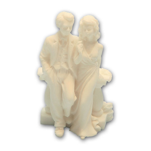 Bruidspaar Marmer Leunend tegen Balustrade