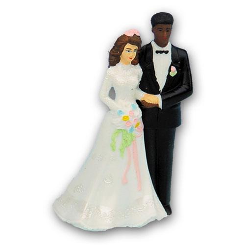 Bruidspaar Kunststof C - Blanke Bruid met Donkere Bruidegom