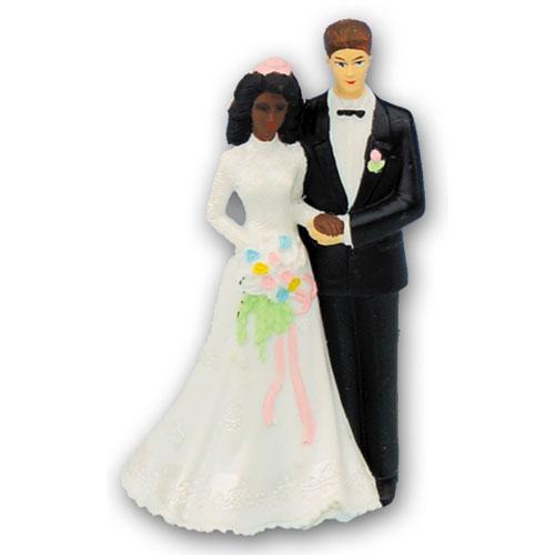 Bruidspaar Kunststof C - Donkere Bruid met Blanke Bruidegom