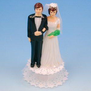 Bruidspaar Kunststof A - op voetje met tule