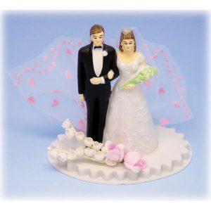 Bruidspaar Kunststof B op voetje met roze tule