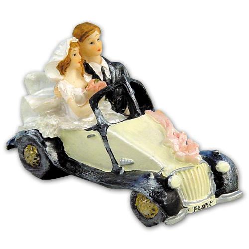 Bruidspaar in Auto Polystone