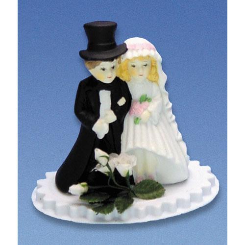 Bruidspaar Porselein A - op voetje met bloemetjes