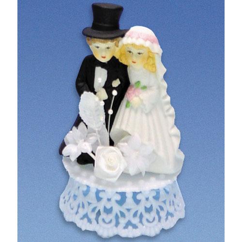 Bruidspaar Porselein A - op hoog voetje met bloemetjes
