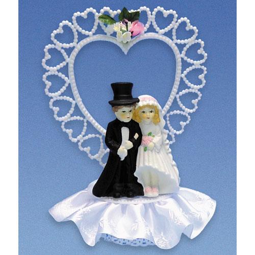Bruidspaar Porselein A - op voetje met hart