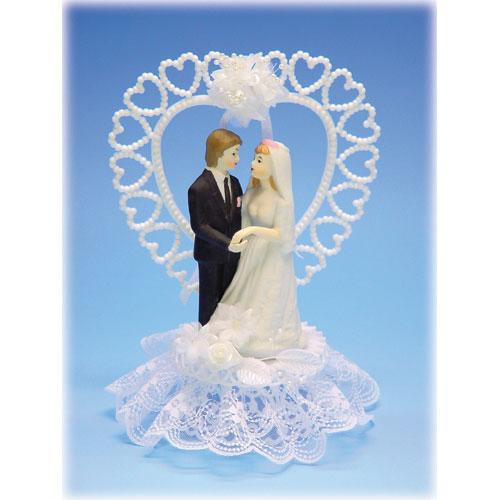 Bruidspaar Porselein C - op voetje met hart
