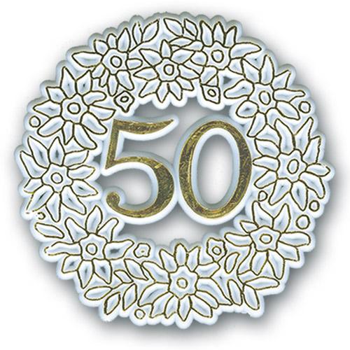 Cijfer Plaatje - 50 - Goud - 12 stuks