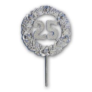 """Item # 161/25 - Medaille Prikker """"25"""" Zilver - Ø 6,5 cm - 12 st"""