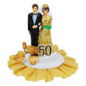 Jubileum Bruidspaar - op voetje - Goud