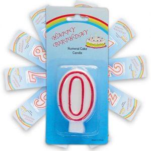 Item # 101000 - Cijferkaarsje Op Blistercard Nr. 0 - 12 st