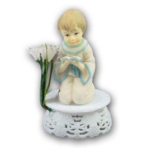 Communikant op Voetje met bloem - Jongen met Boekje