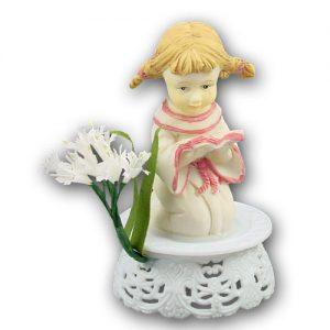 Communikant op Voetje met bloem - Meisje met Boekje