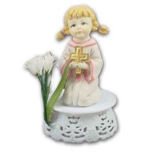 Communikant op Voetje met bloem - Meisje met Kruisje