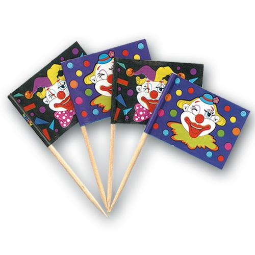 Clown Vlaggetjes Prikkers - 720 Stuks per pakje