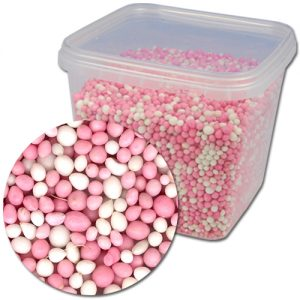 Geboorte Muisjes Mix: Roze & Wit - 750g/pot
