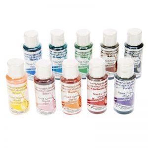 Voedingskleurstof Vloeibaar / Airbrush Set - 9 x 50ml