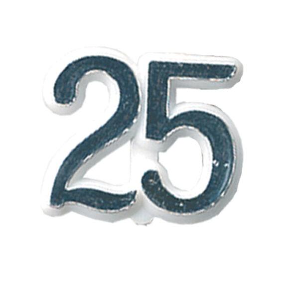 Cijfertje - 25 Zilver - 24 stuks