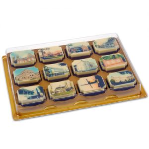 Doosjes voor logo Chocolade Bonbons 12 vaks - 100 stuks