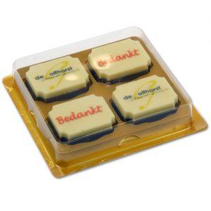 Doosjes voor logo Chocolade Bonbons 4 vaks - 100 stuks