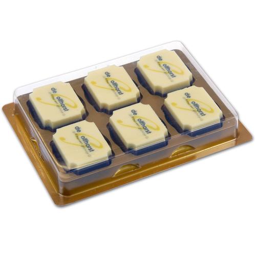 Doosjes voor logo Chocolade Bonbons 6 vaks - 100 stuks