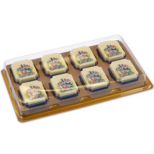 Doosjes voor logo Chocolade Bonbons - 8 vaks - 100 stuks