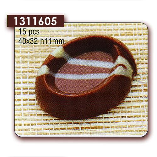 Polycarbonaat Bonbon Chocoladevorm: Ovaal met rand