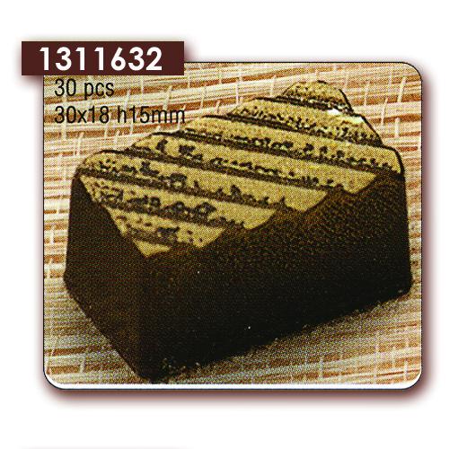 Polycarbonaat Bonbon Chocoladevorm Rechthoek met diagonaal reliëf