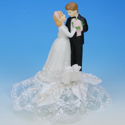 Bruidspaar Porselein - op voetje - Dansend
