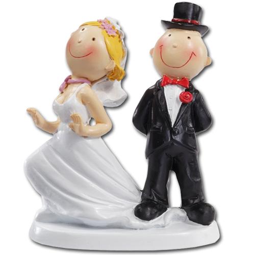 Medium Medium Bruidspaartje: Bruidegom staat op jurk- ca. 9 cm
