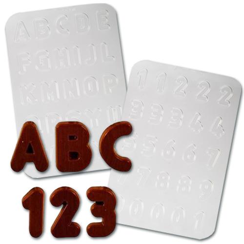 Plastic Chocolade Mallen: Alfabet & Getallen