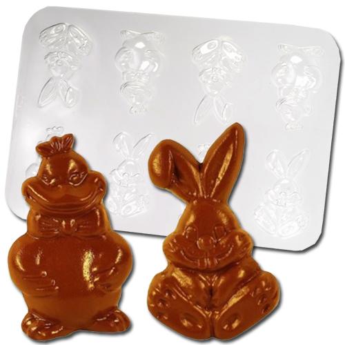 Plastic Chocolade Mallen: 2 Paas Figuren