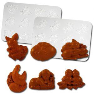 Plastic Chocolade Mallen: 6 Paas Figuren