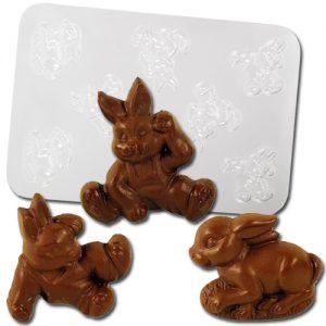 Plastic Chocolade Mal: 3 Paas Figuren