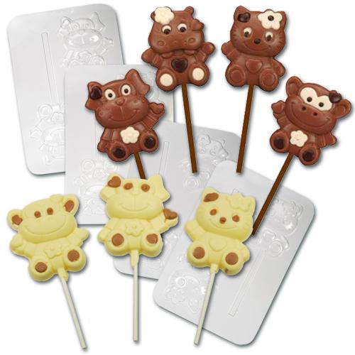 Plastic Chocolade Mallen: Dierenfiguurtjes Lolly's