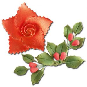 Suiker bloem Kerstroos en hulst met Besje