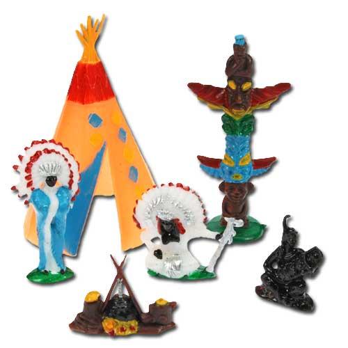 Taart decoratieset: Indianen met Wigwam - per 12 sets