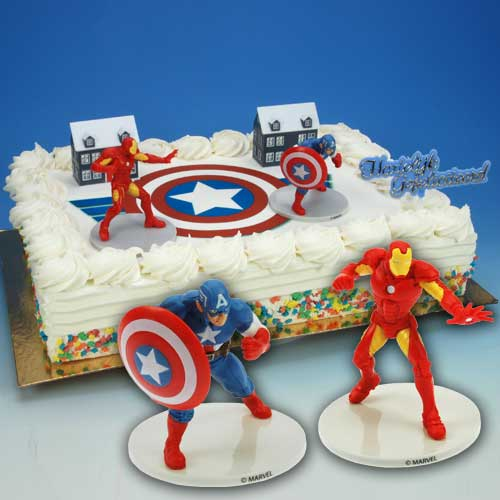 Captain America en Iron Man - Taart Decoratie Set