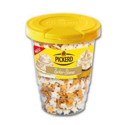 Taart Strooisels: Suiker confetti Sterretjes Goud / Wit