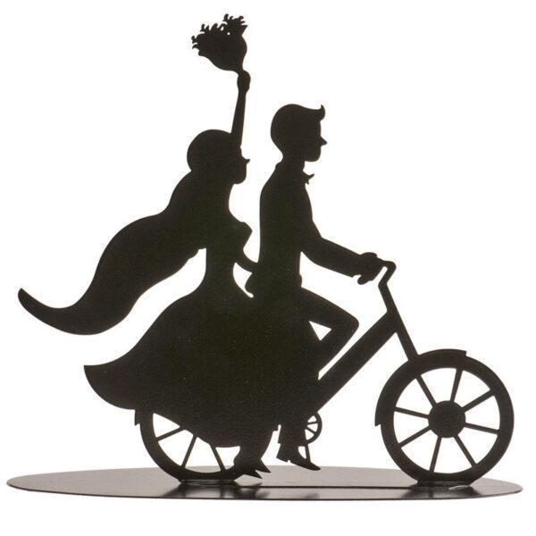Metaal Bruidspaar op fiets - Zwart