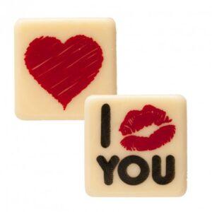 I Love You - Witte chocoladeschildjes